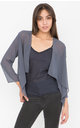 Chiffon Shrug Sheer Bolero Jacket Grey by likemary