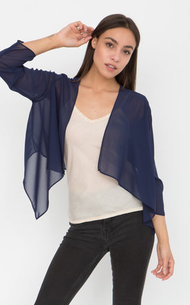 Sheer Chiffon Shrug Bolero Blueberry by likemary