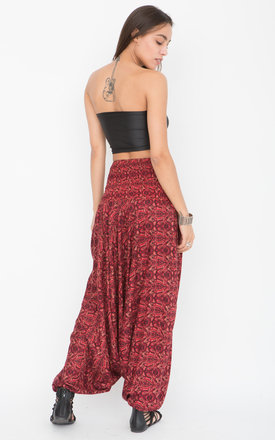 Harem Trousers and Bandeau Jumpsuit Red Paisley Print by likemary