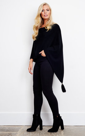 Cowl Neck Black Poncho with Tassel by Bella and Blue
