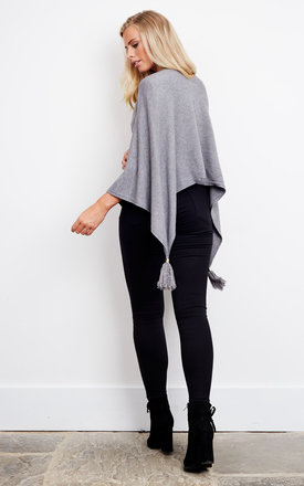 Grey Poncho with Tassel by Bella and Blue