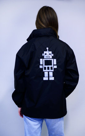 Silver Glitter Robot Rain Mac by Tallulah's Threads