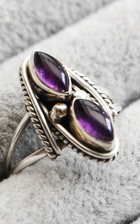 Bali Double Amethyst Boho Sterling Silver Ring by Wanderdusk