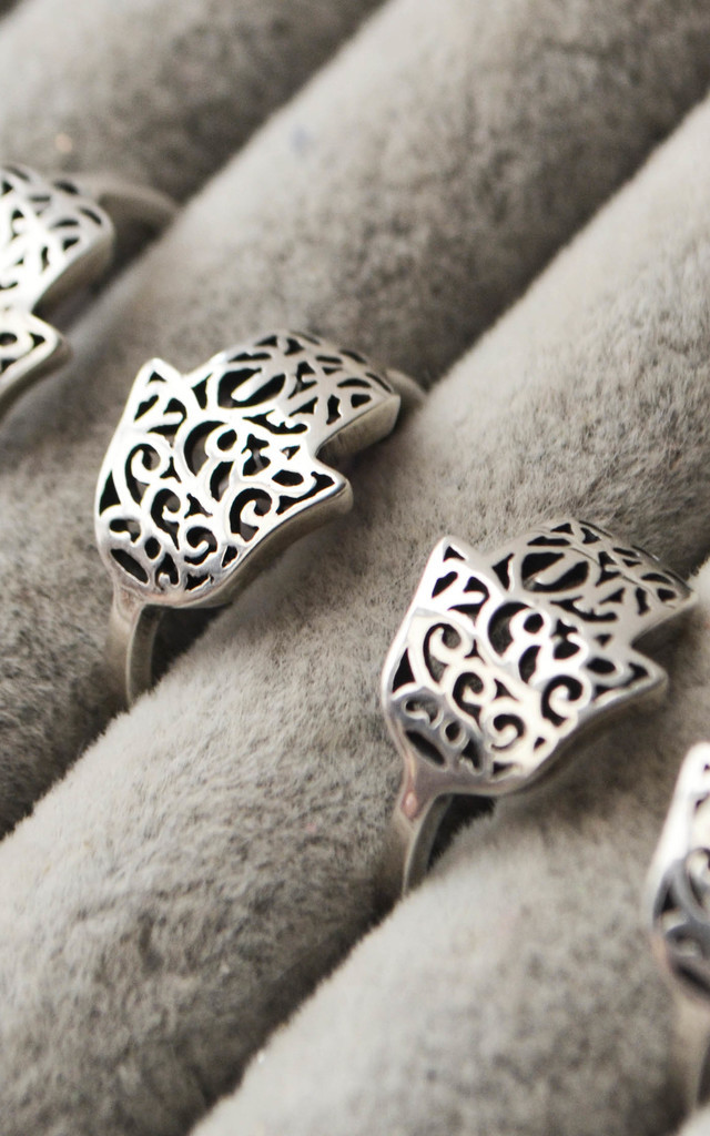 Large Hamsa Filigree Sterling Silver Ring by Wanderdusk