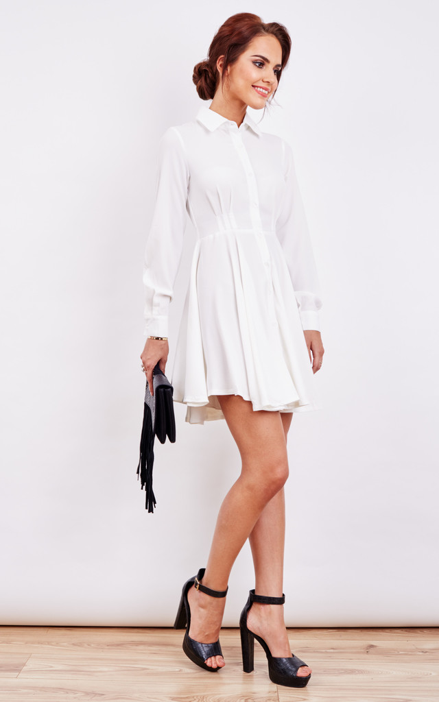 Ivory Long Sleeve Skater Shirt Dress by Oeuvre