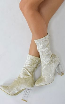 Crushed Velvet Perspex Ankle boots - Cream by AJ | VOYAGE