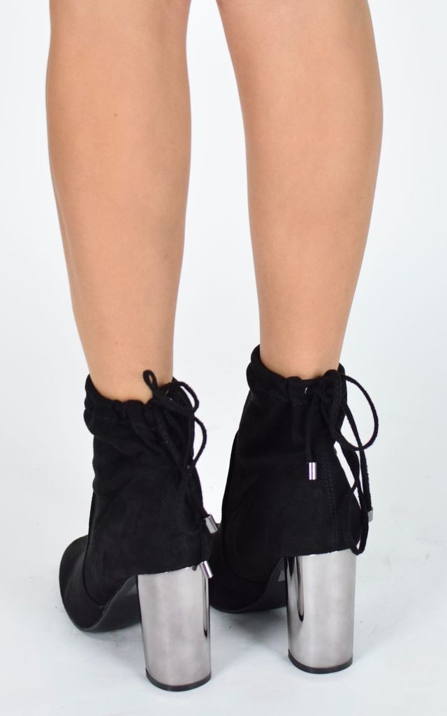 Mirrored Heel Ankle Boots - Black Suede by AJ | VOYAGE