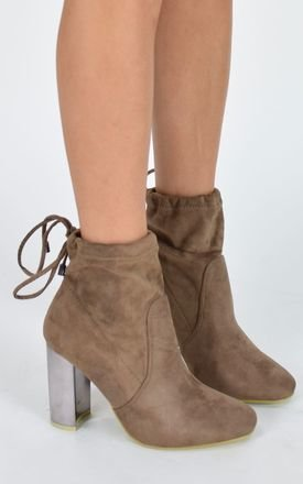 Mirrored Heel Ankle Boots - Mocha Suede by AJ | VOYAGE