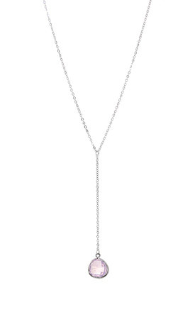Opal Crystal Drop Necklace In Silver by Diamond in The Sky