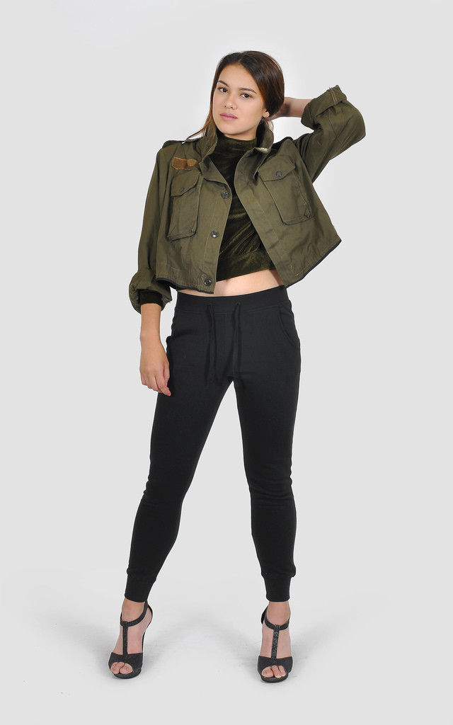 Cropped khaki Military Jacket by The Left Bank
