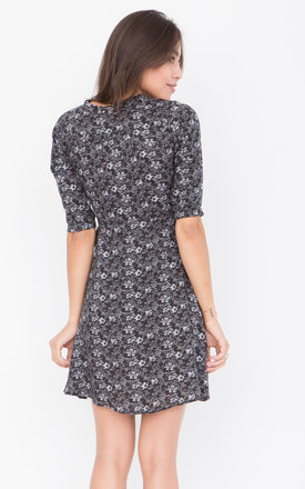 V-Neck Wrap Dress with 3/4 Sleeves in Florals Print Grey by likemary