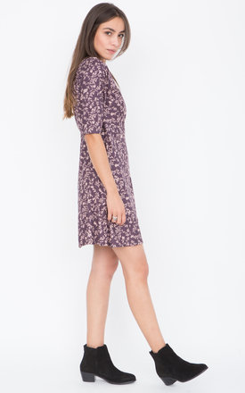 V-Neck Wrap Dress with 3/4 Sleeves in Florals Print Purple by likemary