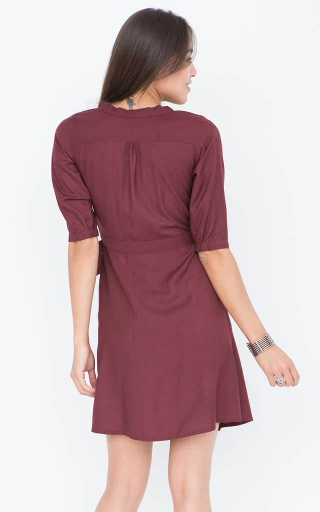 Burgundy Wrap Dress with 3/4 sleeves by likemary
