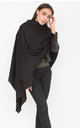 Merino Wool Blanket Scarf & Oversized Pashmina In Black by likemary