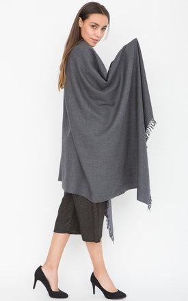 Kasa Merino Handwoven Pashmina and Oversize Scarf Charcoal by likemary