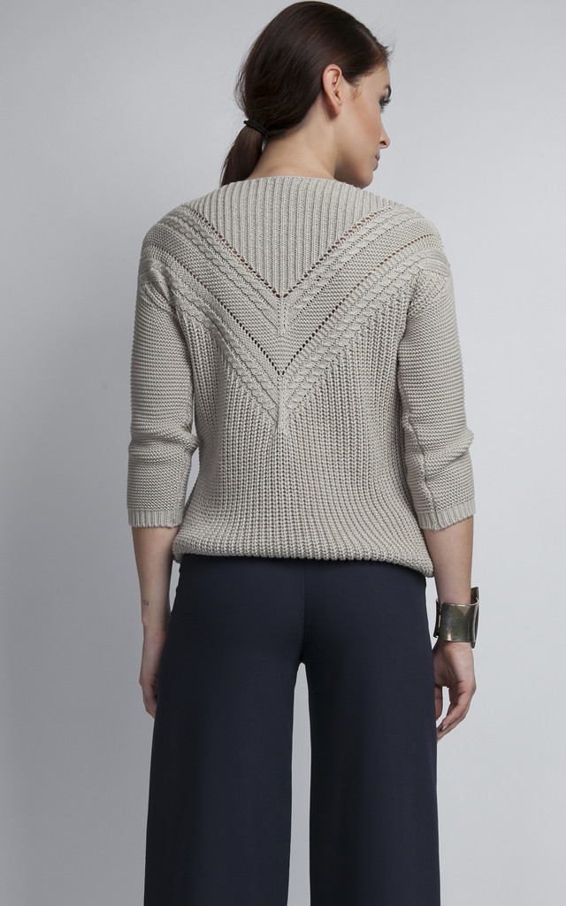 Openwork sweater - grey by MKM Knitwear Design