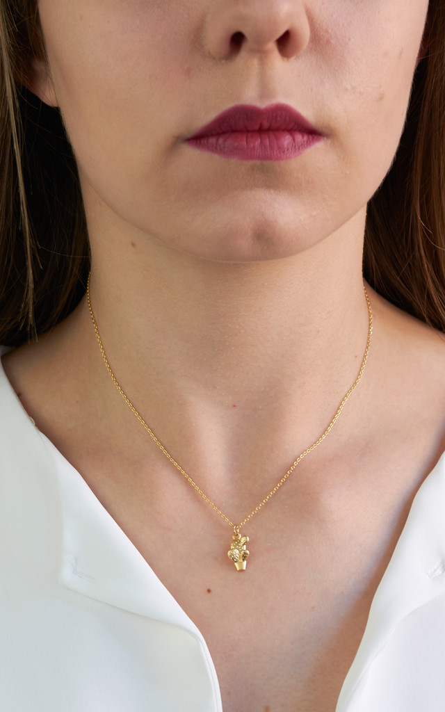 Cactus Pendant In Gold by DOSE of ROSE
