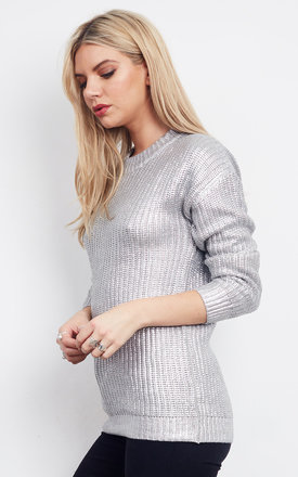 LONG SLEEVE LIGHT GREY SILVER JUMPER by Glamorous
