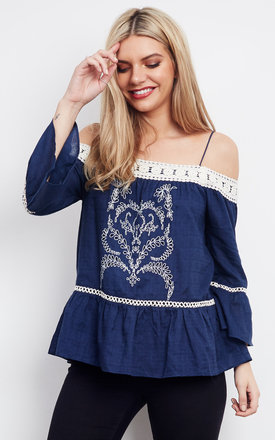 Contrast Lace Embroidered Top by Moon River Product photo