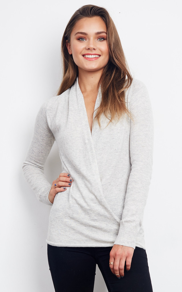 GREY WRAP LONG SLEEVE JUMPER by Parallel Lines