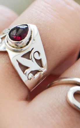 Garnet Shadow Thick Sterling Silver Ring by Wanderdusk