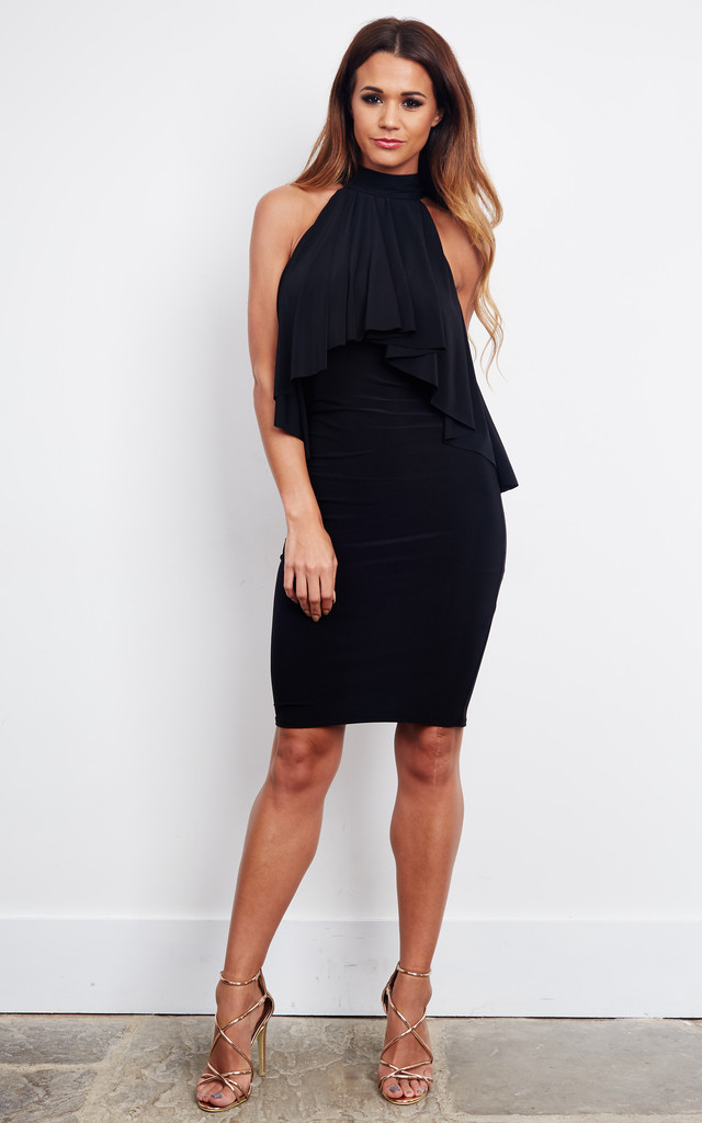 BLACK FRILL PENCIL MIDI DRESS by John Zack