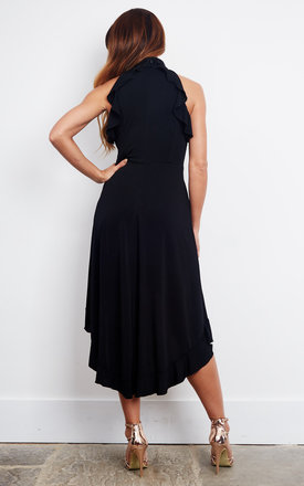BLACK FRILL HIGH LOW DRESS by John Zack