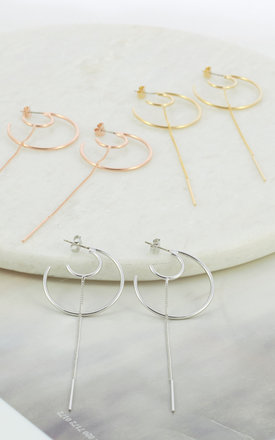 Circle Crescent With Long Chain Earrings In White Gold by DOSE of ROSE