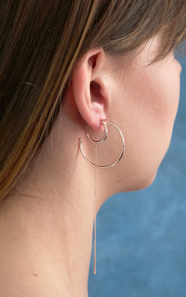 Circle Crescent With Long Chain Earrings In Rose Gold by DOSE of ROSE