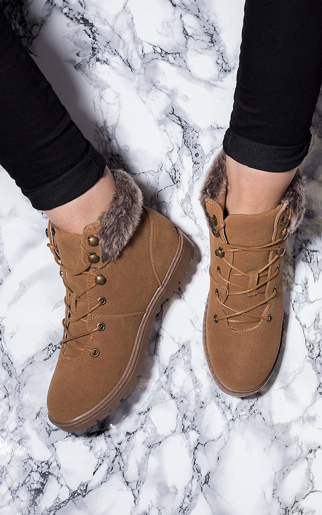 keavney lace up cleated sole shearling flat wa silkfred