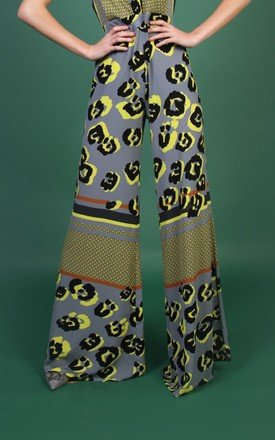Terri Trouser - Grey Yellow Leopard by Rebecca Rhoades