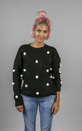 Jade Chunky Knit with Pom Poms by Material Gal