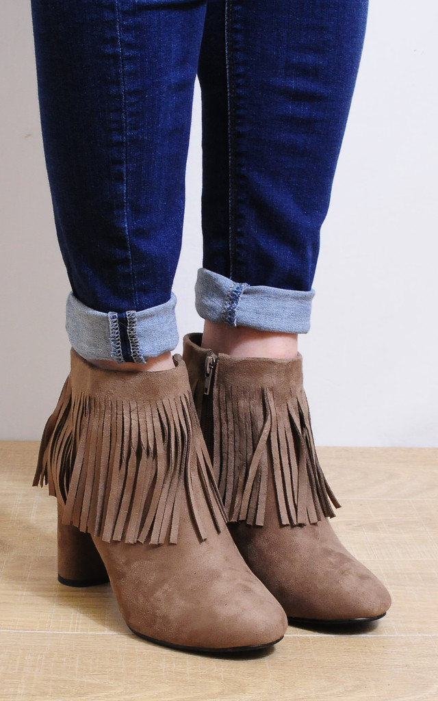 Taupe Faux Suede Fringed Tassels Ankle Boots High Heels by Shoe Closet