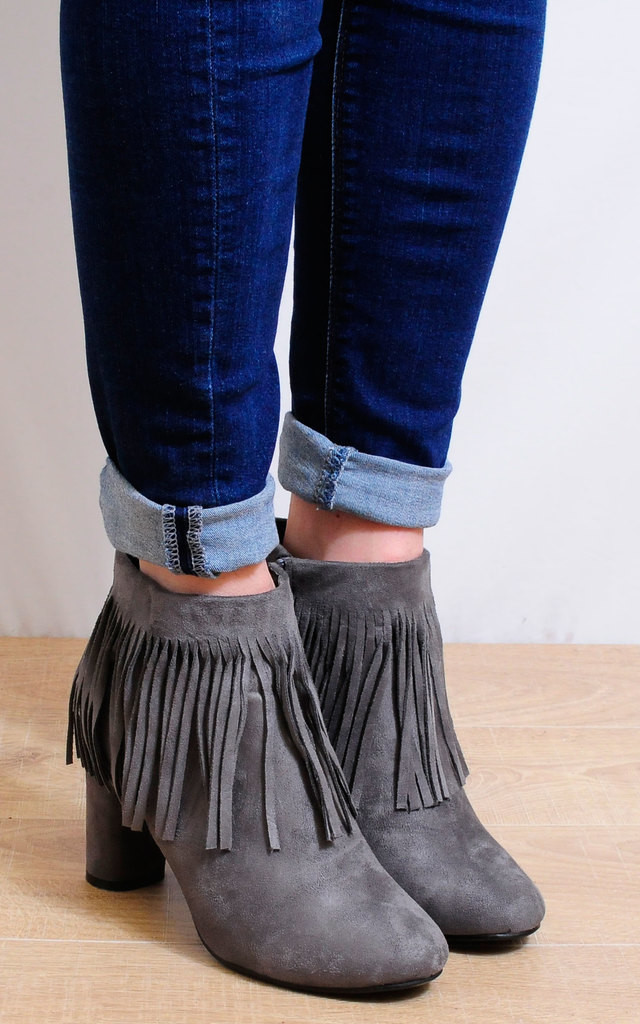 Grey Faux Suede Fringed Tassels Ankle Boots High Heels by Shoe Closet