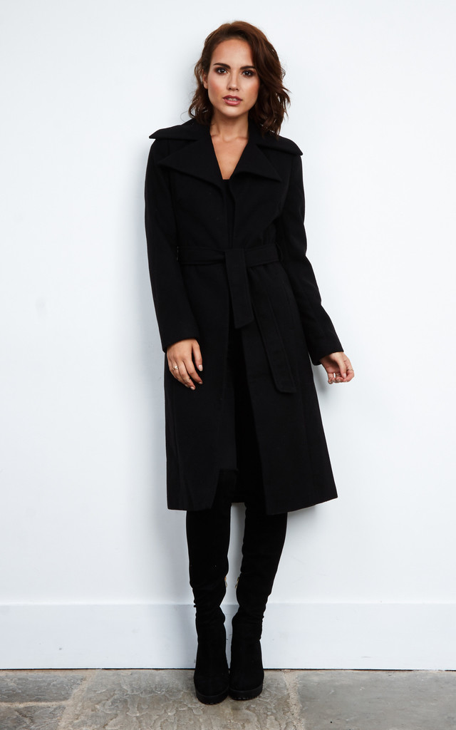 LONGLINE TIE FRONT COAT by Aftershock London