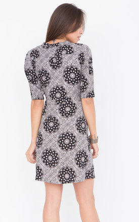 Paisley Print Wrap Dress with 3/4 sleeves by likemary