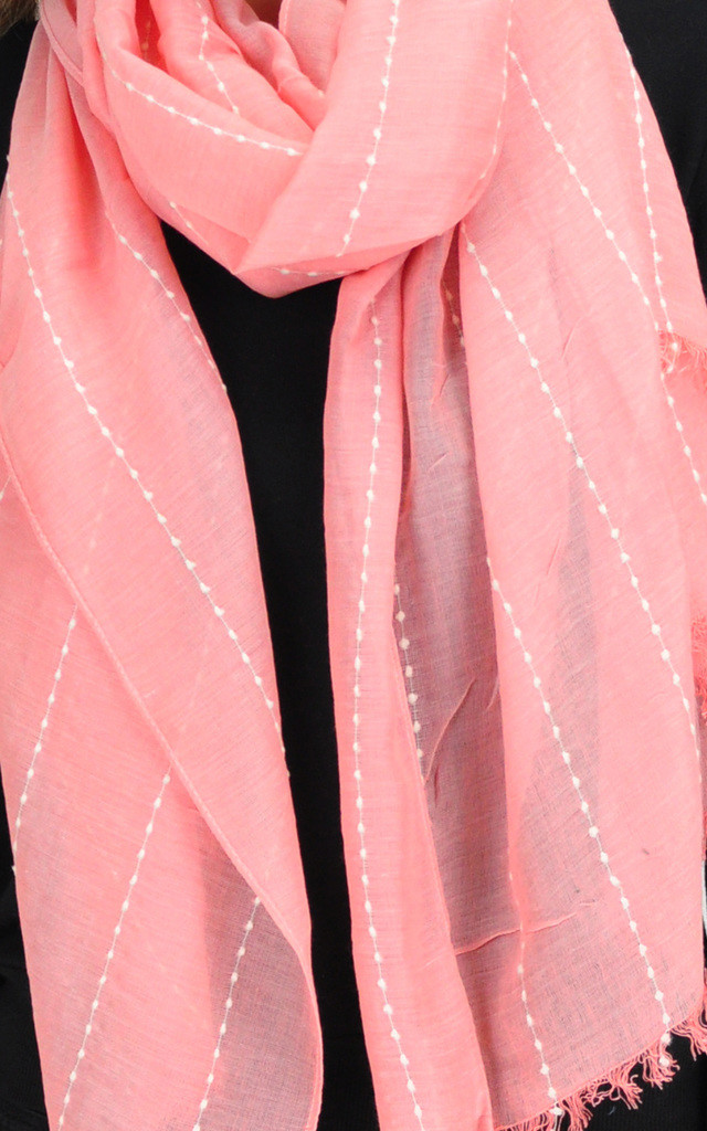 Lightweight Woven Scarf with Frayed Edge in Pink by GOLDKID LONDON