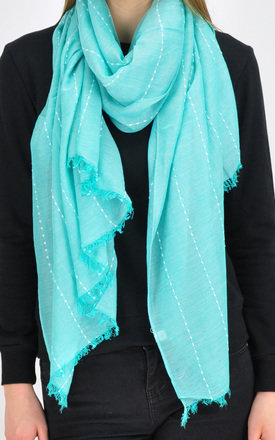 Lightweight Woven Scarf with Frayed Edge in Green by GOLDKID LONDON
