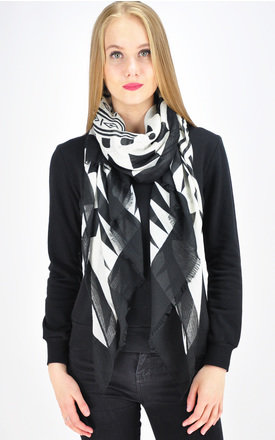 Oversized Woven Scarf with Black & White Tribal Print by GOLDKID LONDON