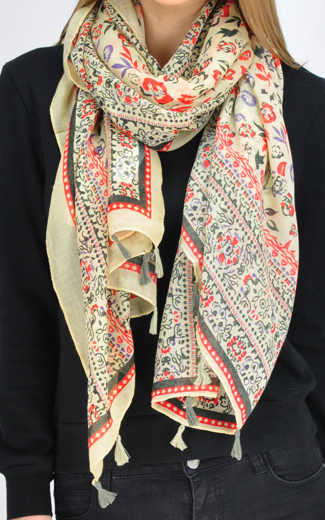 GK FLORAL PRINT WOVEN OVERSIZED SOFT SCARF by GOLDKID LONDON