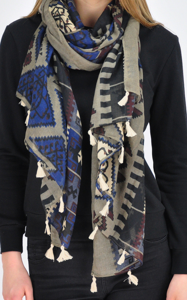 Oversized Woven Scarf with Navy Tribal Print by GOLDKID LONDON