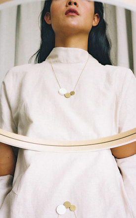 Three Circle Necklace in Brass and Midnight Blue by Wolf & Moon