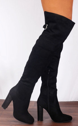 1189f436e18 Black Over The Knee Buckle High Heels Boots