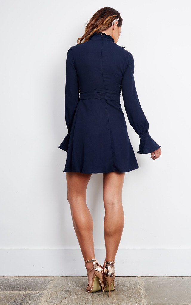 High neck frilled detailed dress in navy by Glamorous