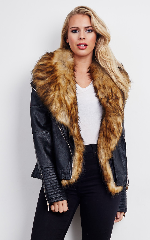 97e617258114 Teller Faux Fur Leather Look Jacket | Blue Vanilla | SilkFred