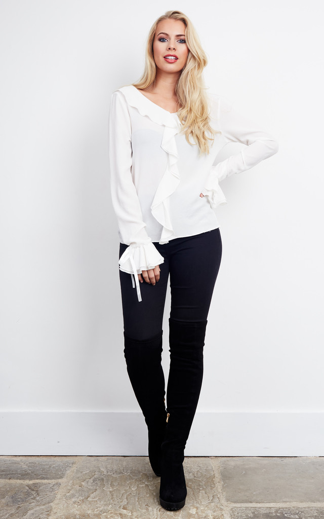 White Ruffle Blouse by Lilah Rose