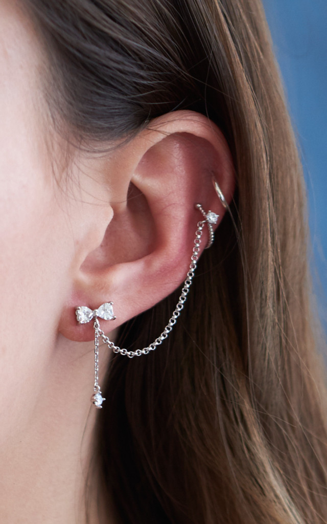 Bow Stud With Chain Linked Ear Cuff White Gold by DOSE of ROSE