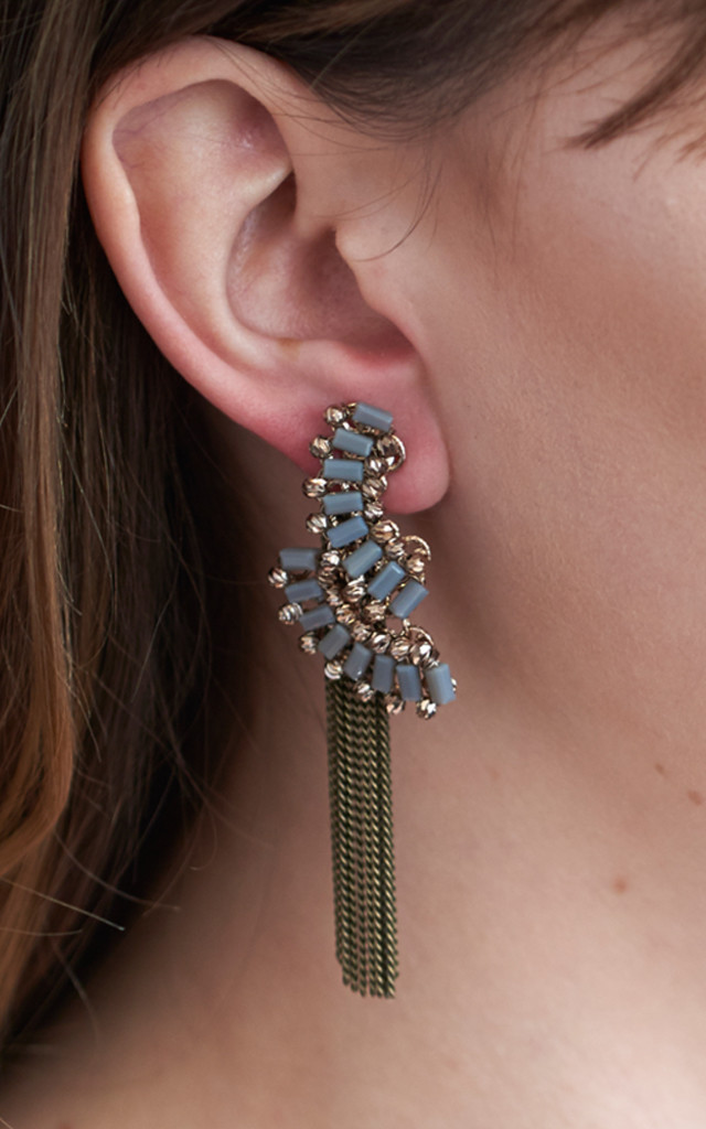 Statement Drape Two Way Earrings In Grey by DOSE of ROSE