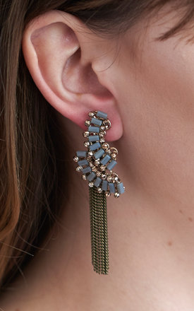 Statement Drape Two Way Earrings In Grey by DOSE of ROSE Product photo