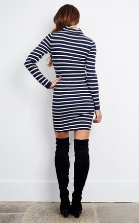 Navy Blazer Roll Neck Striped Knit Dress by Noisy May